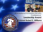 2014 national homeland security conference leadership award6