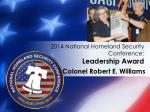 2014 national homeland security conference leadership award7