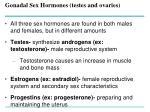 gonadal sex hormones testes and ovaries
