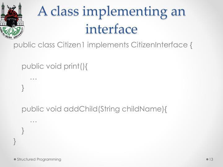 A class implementing an interface
