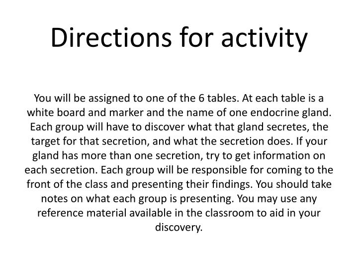 Directions for activity