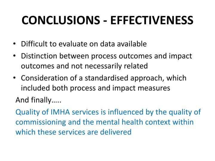 CONCLUSIONS - EFFECTIVENESS