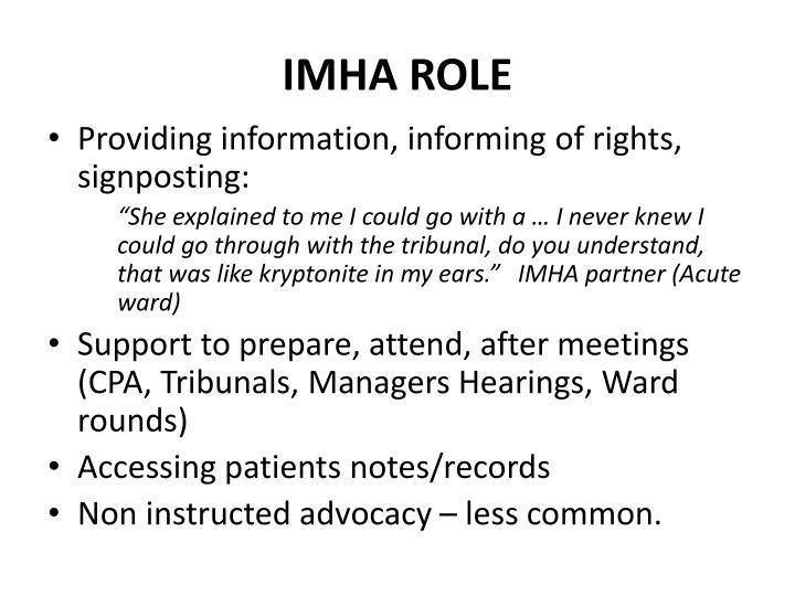 IMHA Role