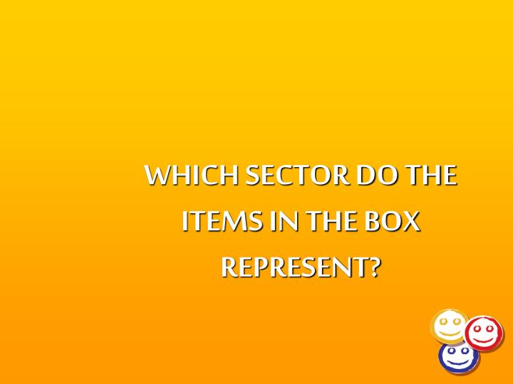 WHICH SECTOR DO THE ITEMS IN THE BOX REPRESENT?