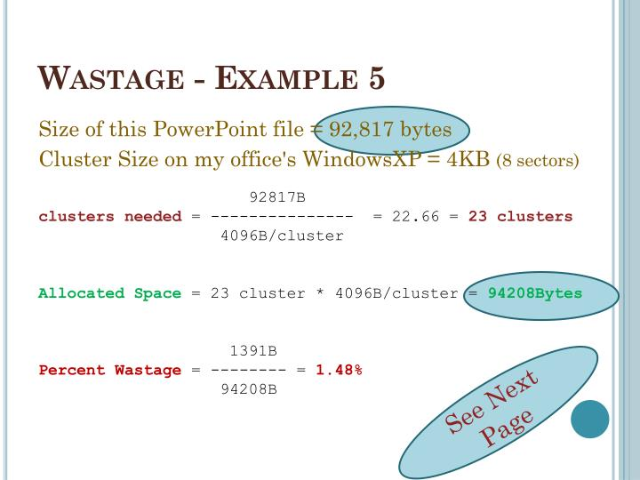 Wastage - Example 5