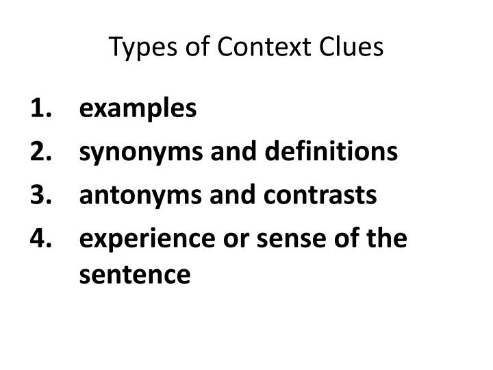 Types of context clues