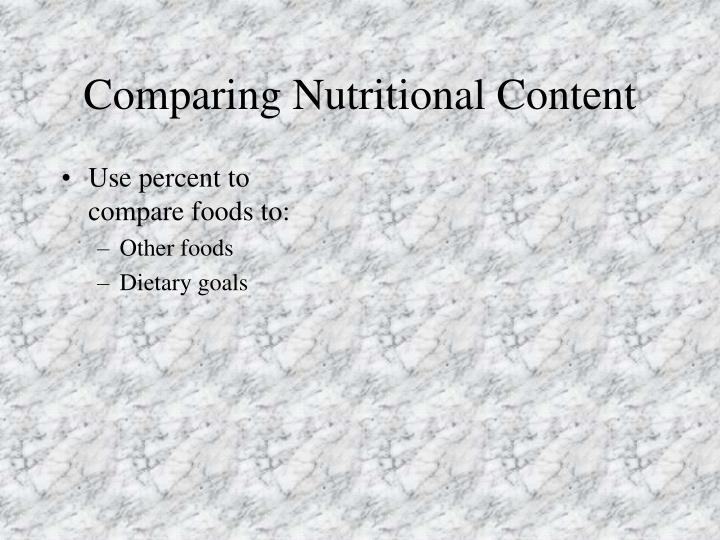Comparing Nutritional Content