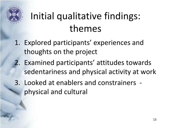 Initial qualitative findings: themes