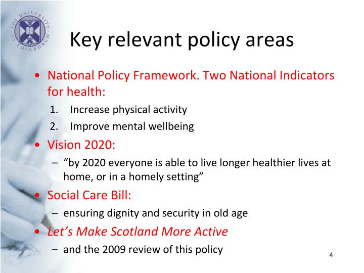 Key relevant policy areas