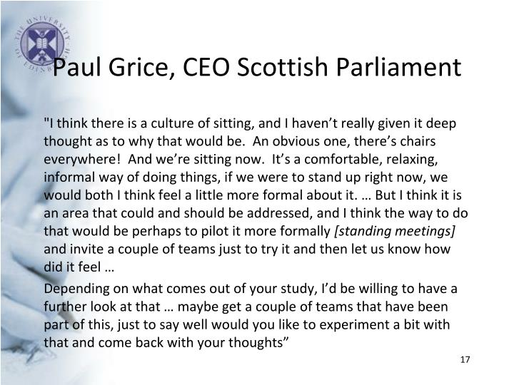 Paul Grice, CEO Scottish Parliament