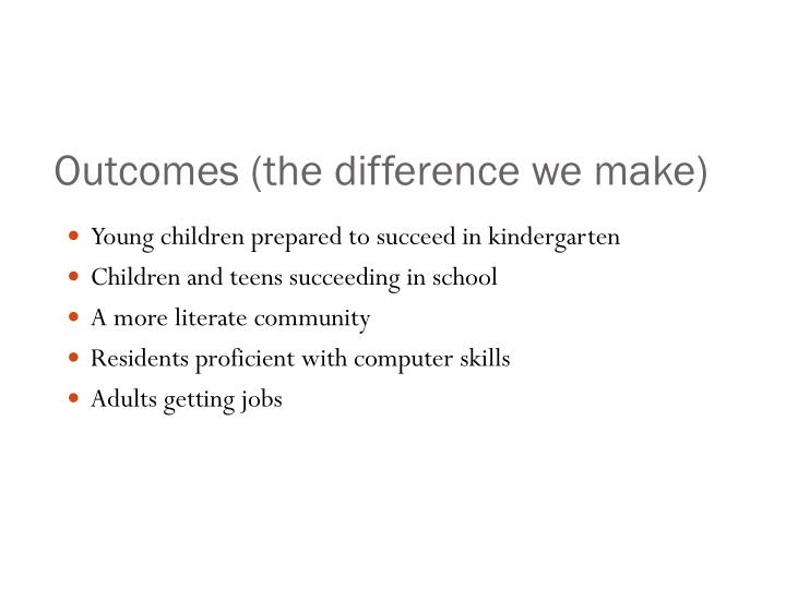 Outcomes (the difference we make)