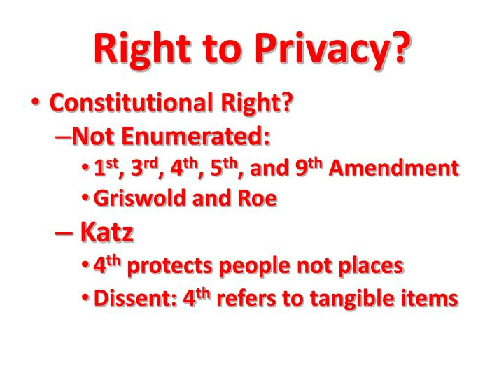 Right to Privacy?