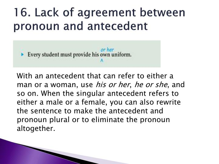 16. Lack of agreement between pronoun and antecedent