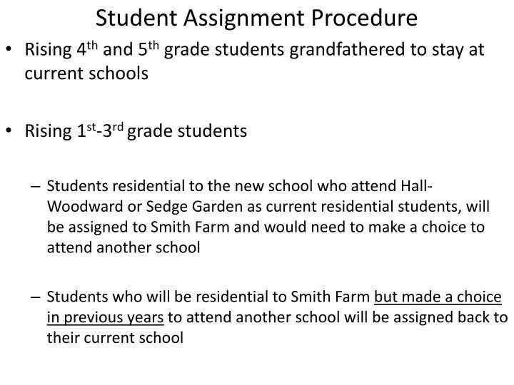Student Assignment Procedure