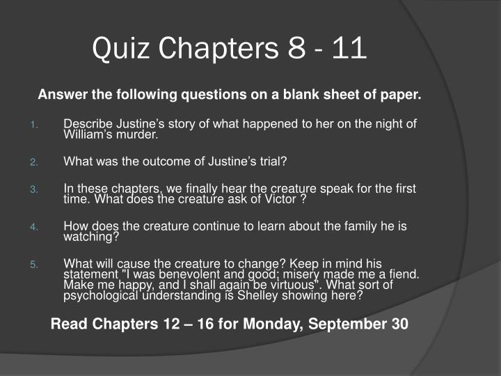 Quiz Chapters 8 - 11