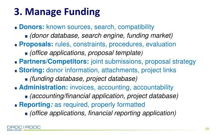 3. Manage Funding