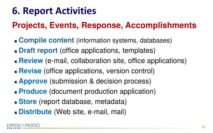 6. Report Activities