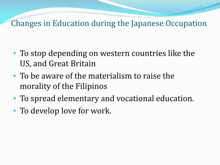 Changes in Education during the Japanese Occupation