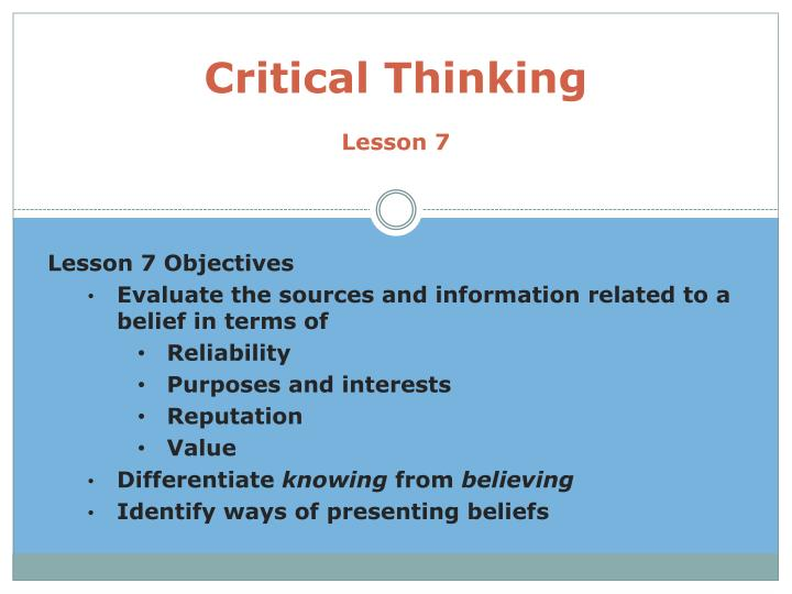 Critical Thinking Ppt Presentation