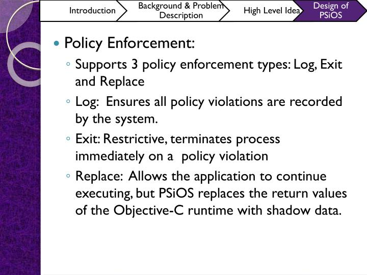 Policy Enforcement: