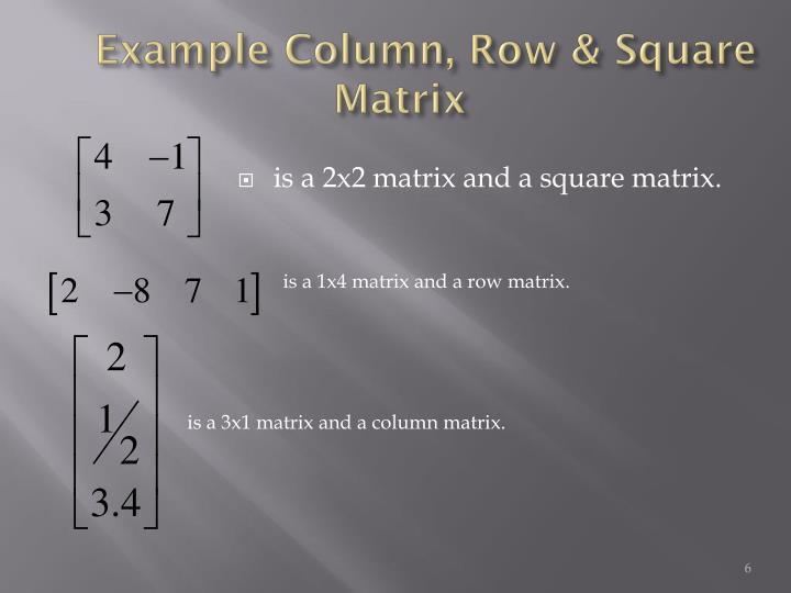 is a 1x4 matrix and a row matrix.
