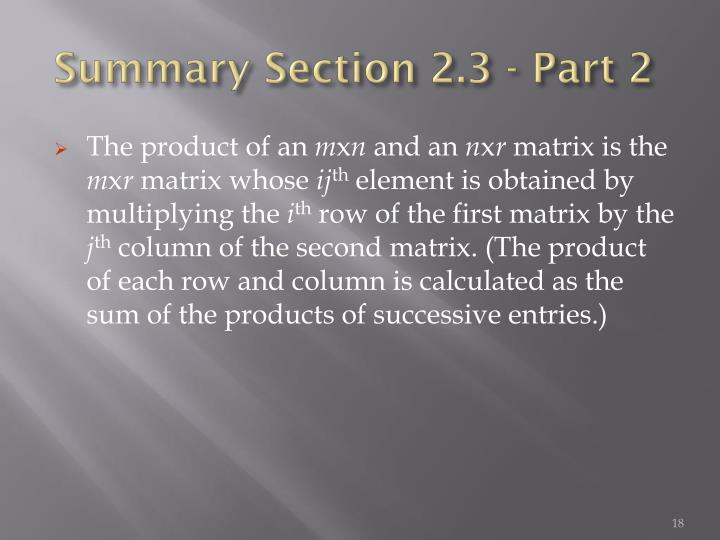 Summary Section 2.3 - Part 2
