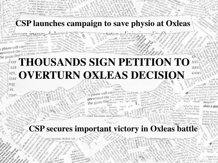 CSP launches campaign to save physio at Oxleas