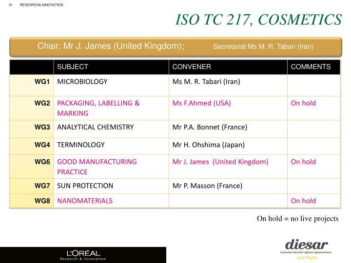 ISO TC 217, Cosmetics