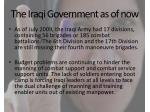 the iraqi government as of now