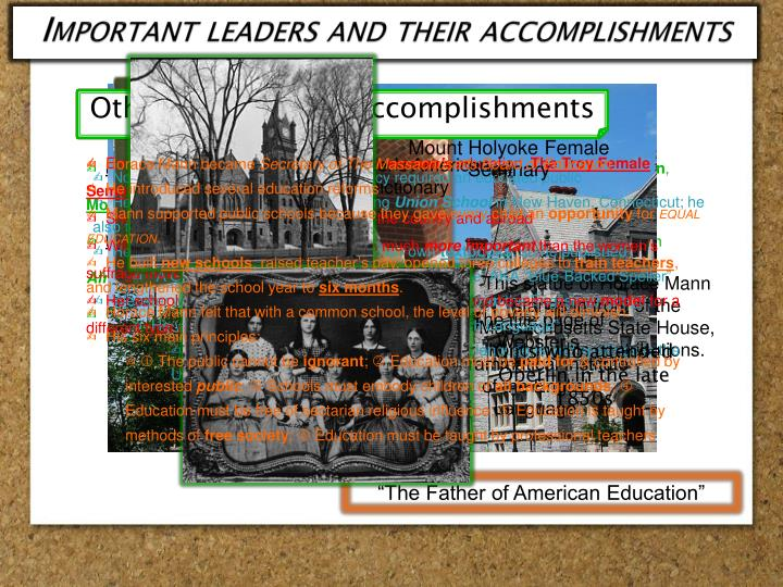 Important leaders and their accomplishments