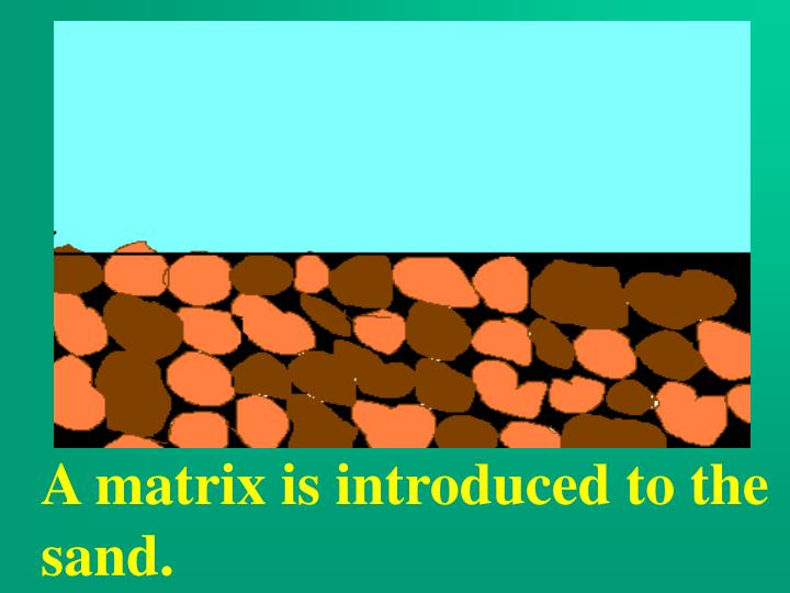 A matrix is introduced to the sand.