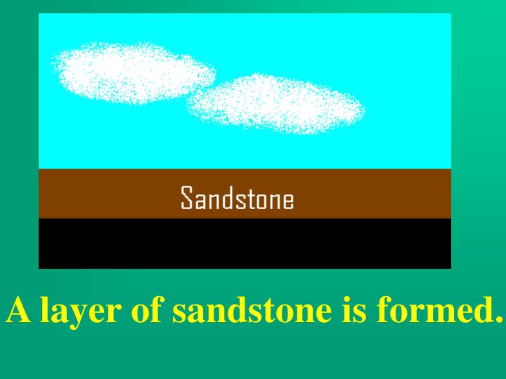 A layer of sandstone is formed.