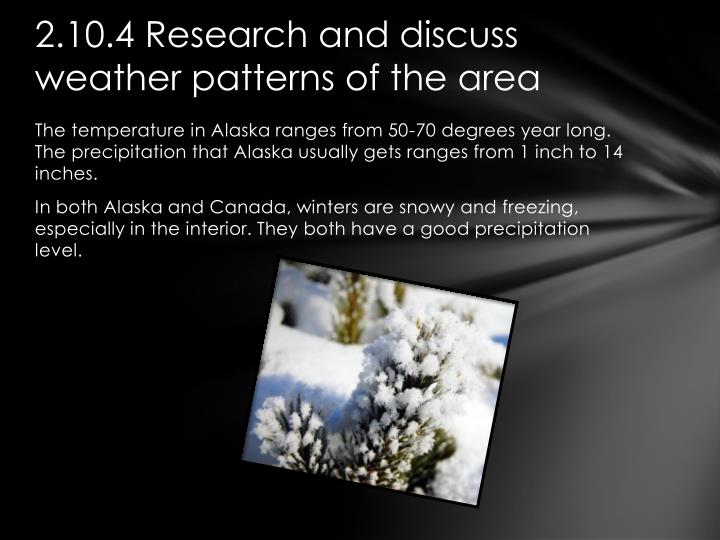 2.10.4 Research and discuss weather patterns of the area