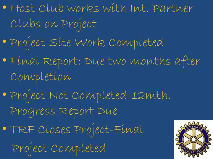 Host Club works with Int. Partner Clubs on Project