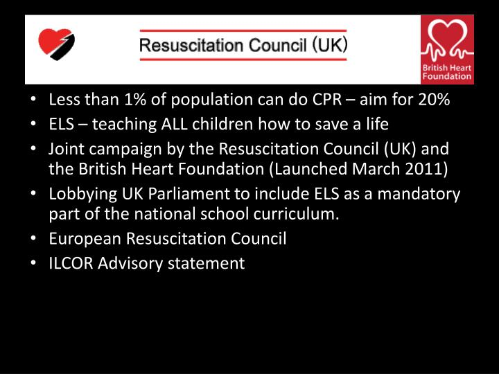 Less than 1% of population can do CPR – aim for 20%
