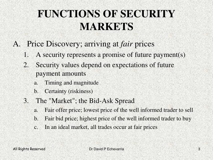 FUNCTIONS OF SECURITY MARKETS
