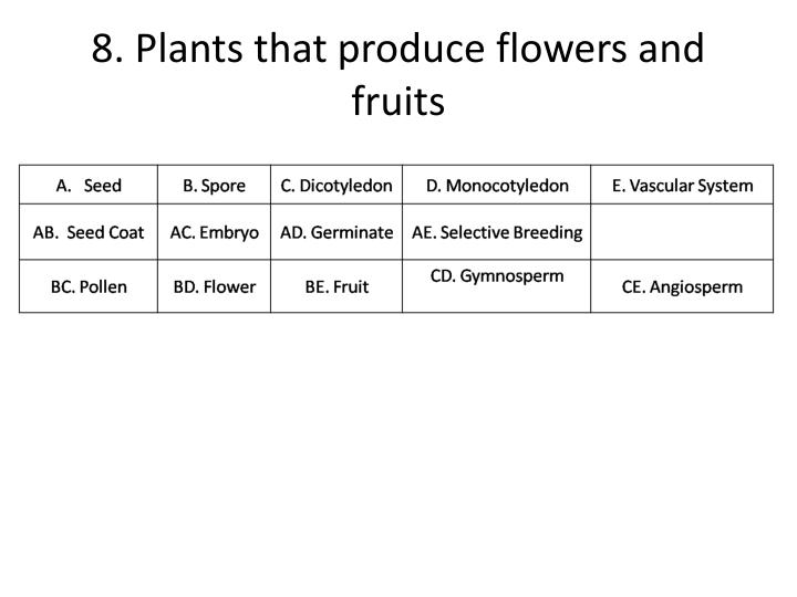 8. Plants that produce flowers and fruits