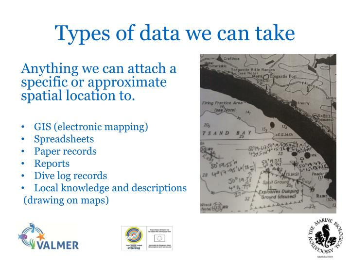 Types of data we can take