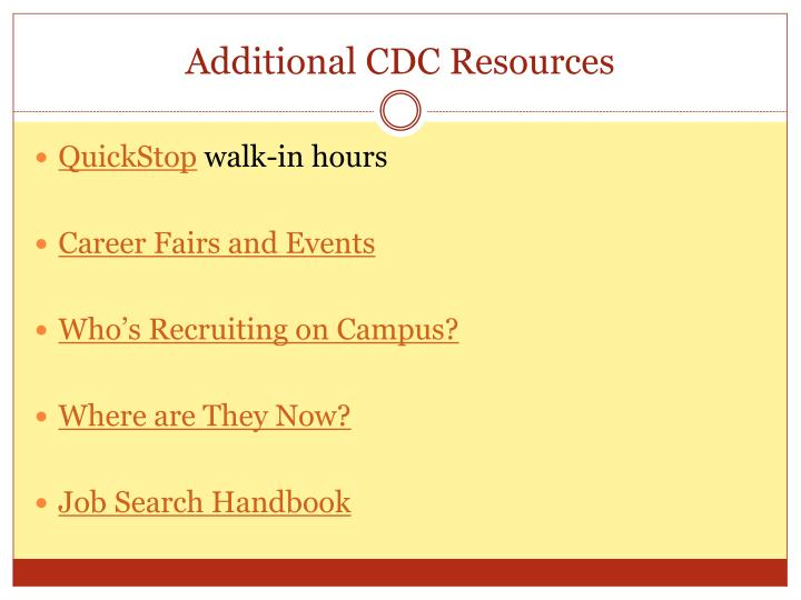 Additional CDC Resources