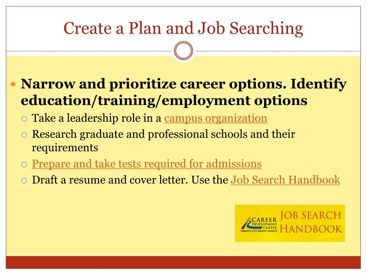 Create a Plan and Job Searching