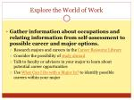 explore the world of work
