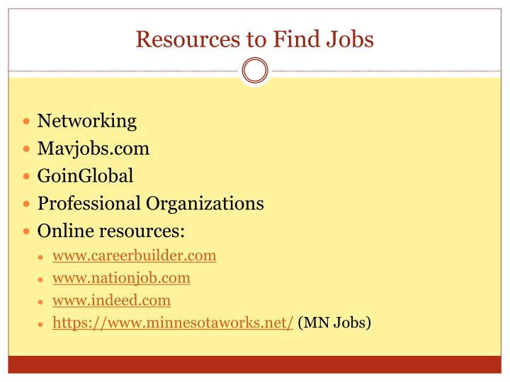 Resources to Find Jobs