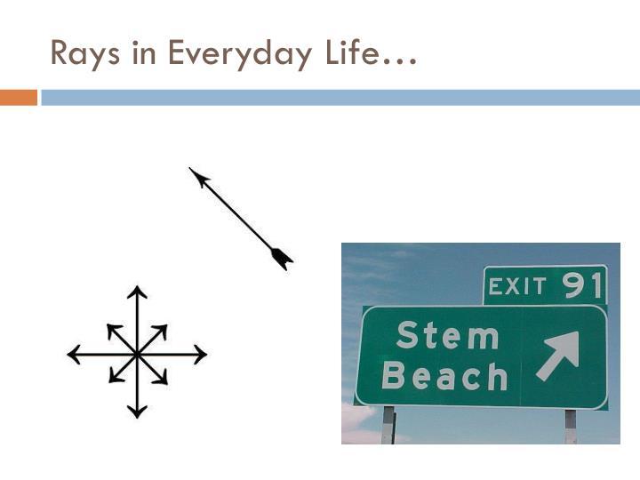 Rays in Everyday Life…