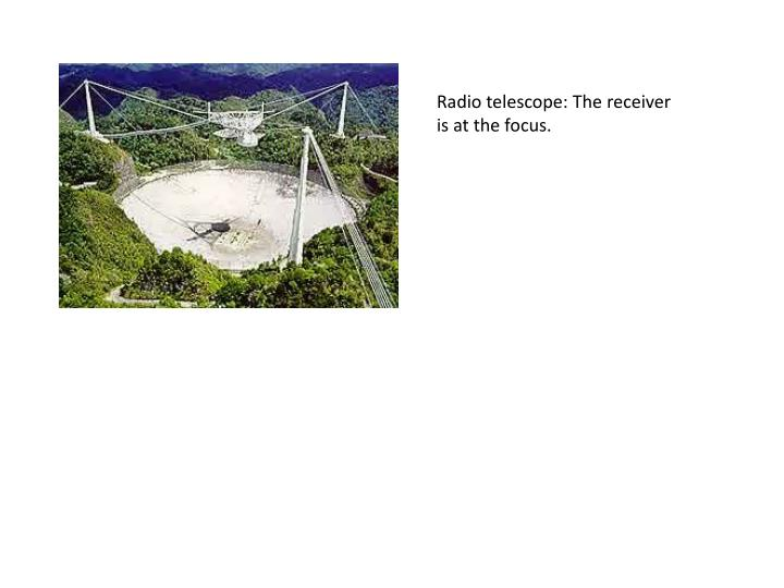 Radio telescope: The receiver is at the focus.