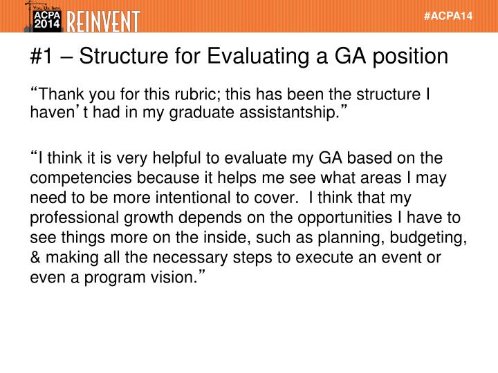 #1 – Structure for Evaluating a GA position