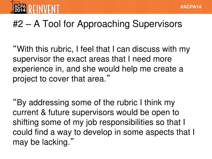 #2 – A Tool for Approaching Supervisors
