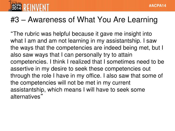 #3 – Awareness of What You Are Learning