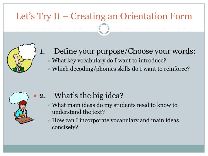 Let's Try It – Creating an Orientation Form