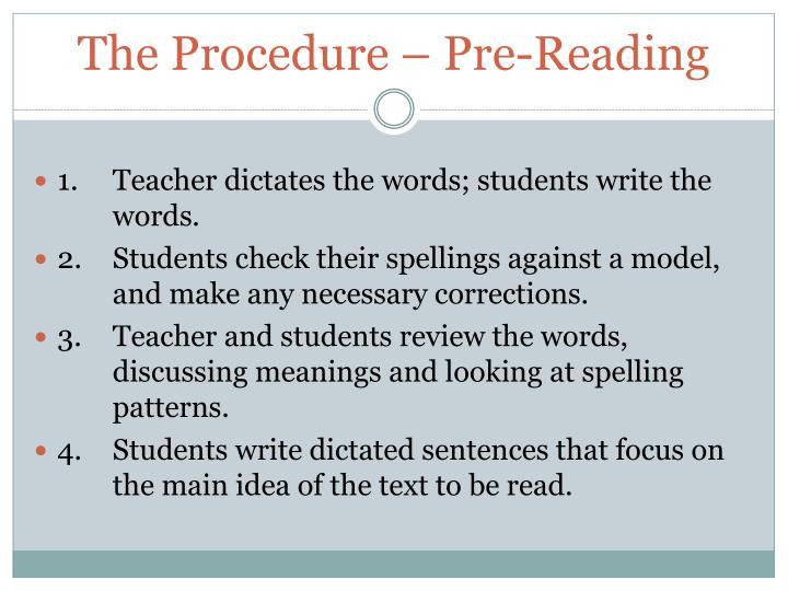 The Procedure – Pre-Reading