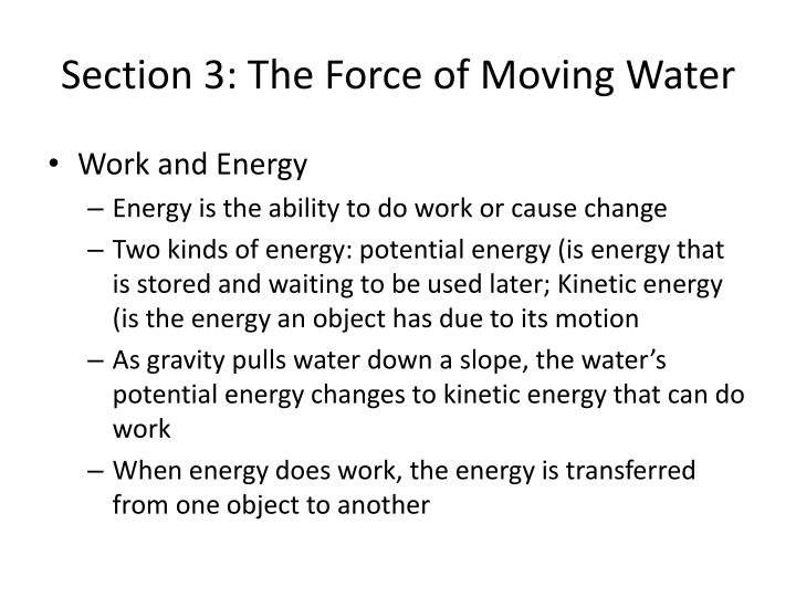 Section 3 the force of moving water